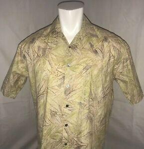 Tori-Richard-Mens-Medium-Hawaiian-Shirt-Beige-Leaf-Floral-Theme-100-Cotton-Lawn