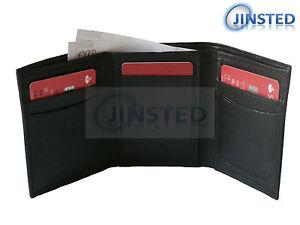 Lusso-Piccolo-Nero-Vera-pelle-Tri-Fold-Portafoglio-Uomo-Protezione-Rfid-W0035