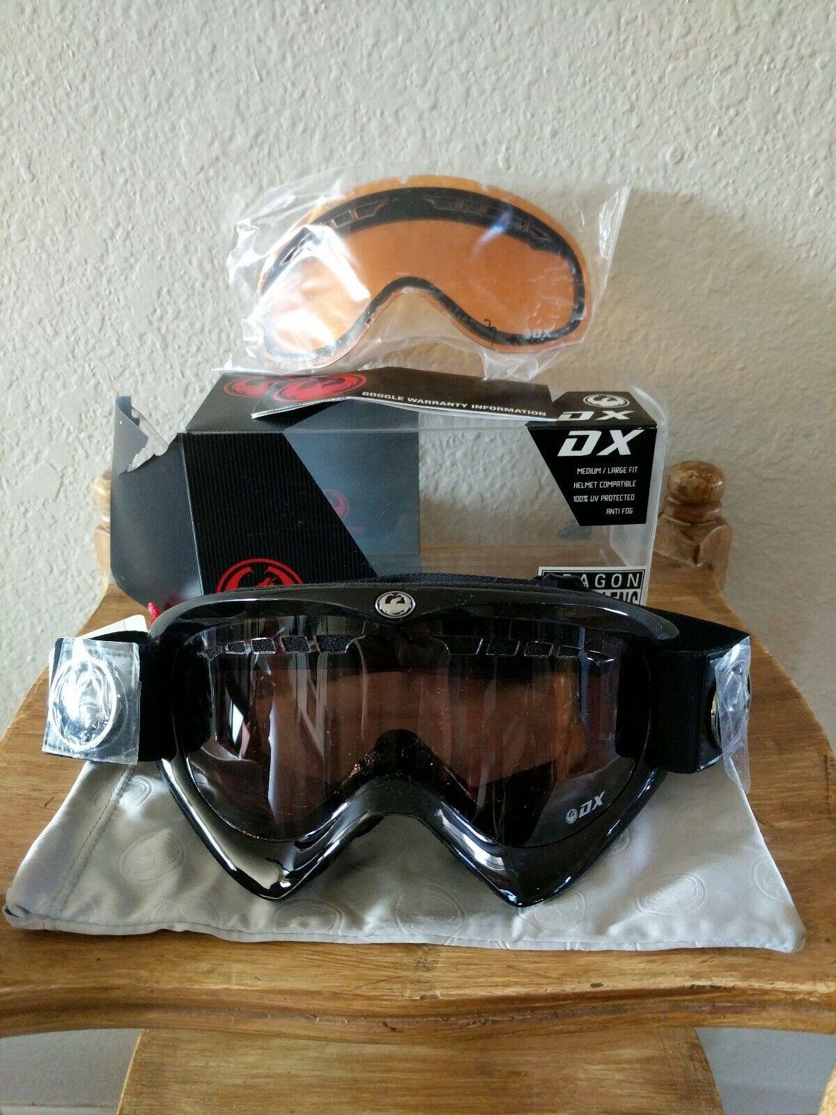 NEW HTF Smith DX Goggles Jet Stealth Jet Polar w Amb RL Medium Large Fit 100% UV