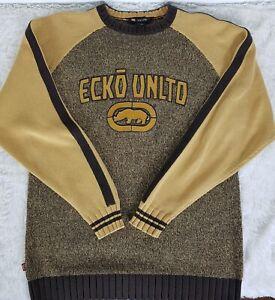 Ecko-Unltd-Heavy-Men-039-s-Mustard-amp-Brown-Sweater-Size-M