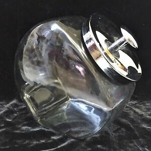 clear glass slanted country store candy jar canister w metal lid ebay. Black Bedroom Furniture Sets. Home Design Ideas