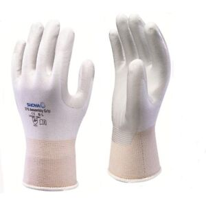 10 Pairs of SHOWA 370 Assembly Precision Grip Gloves - Nitrile Palm Coated WHITE