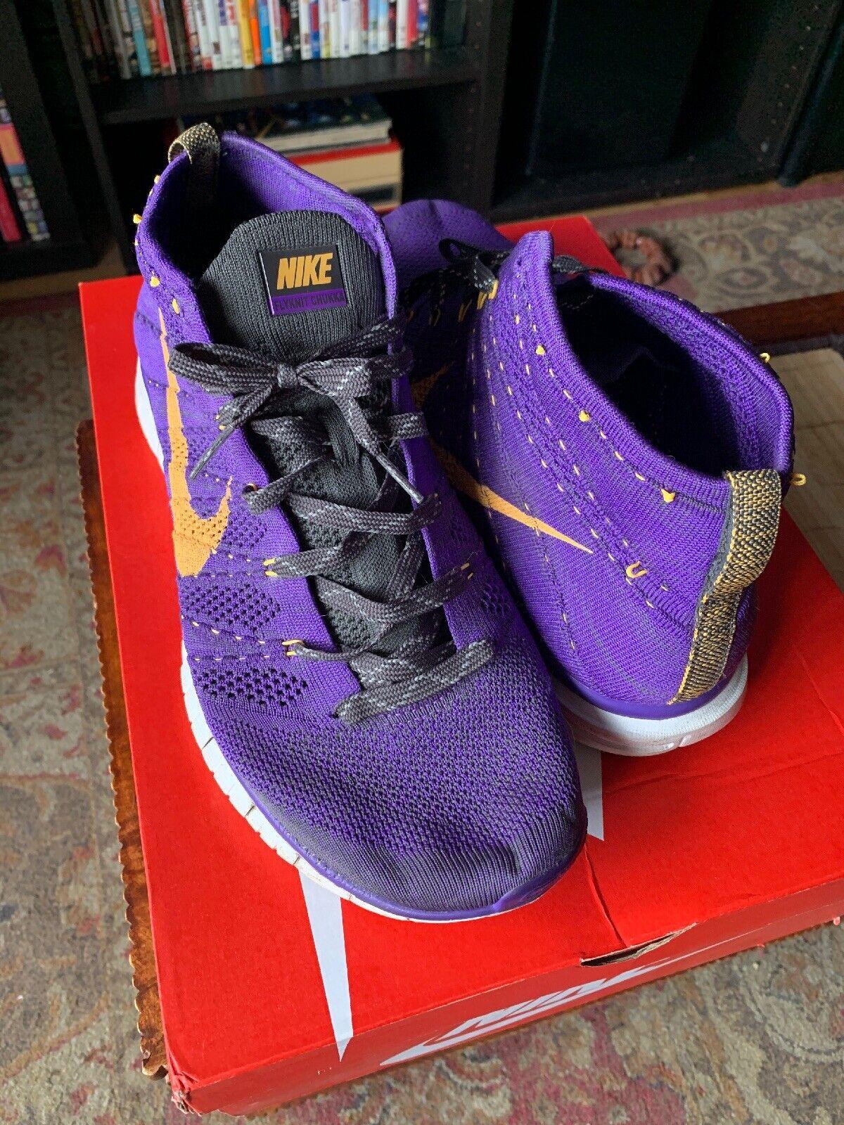 Nike 639700-500 Grape Men's Free Flyknit Chukka Running shoes Size US 12