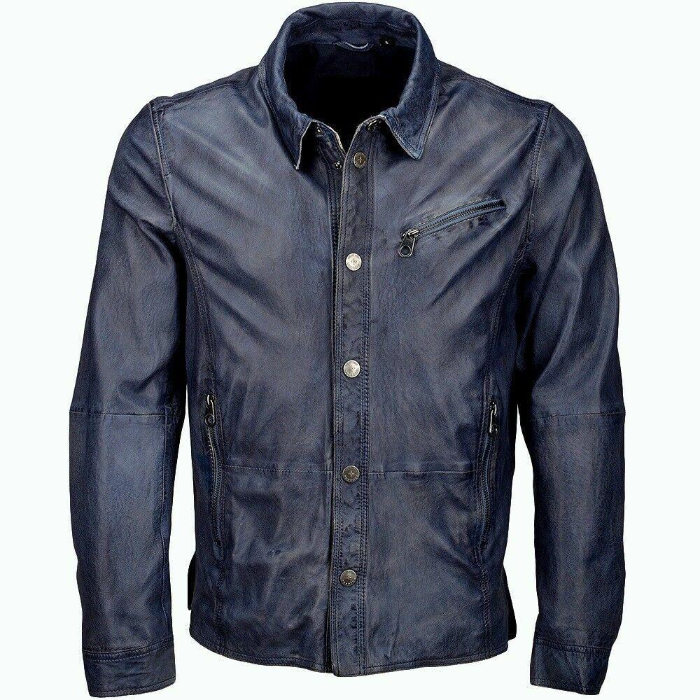 Masculine Edge Design Stretchy Mens Denim bluee Real Leather Western Shirt