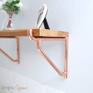 Copper Shelf Bracket Support With Angled Brace Handmade Rose