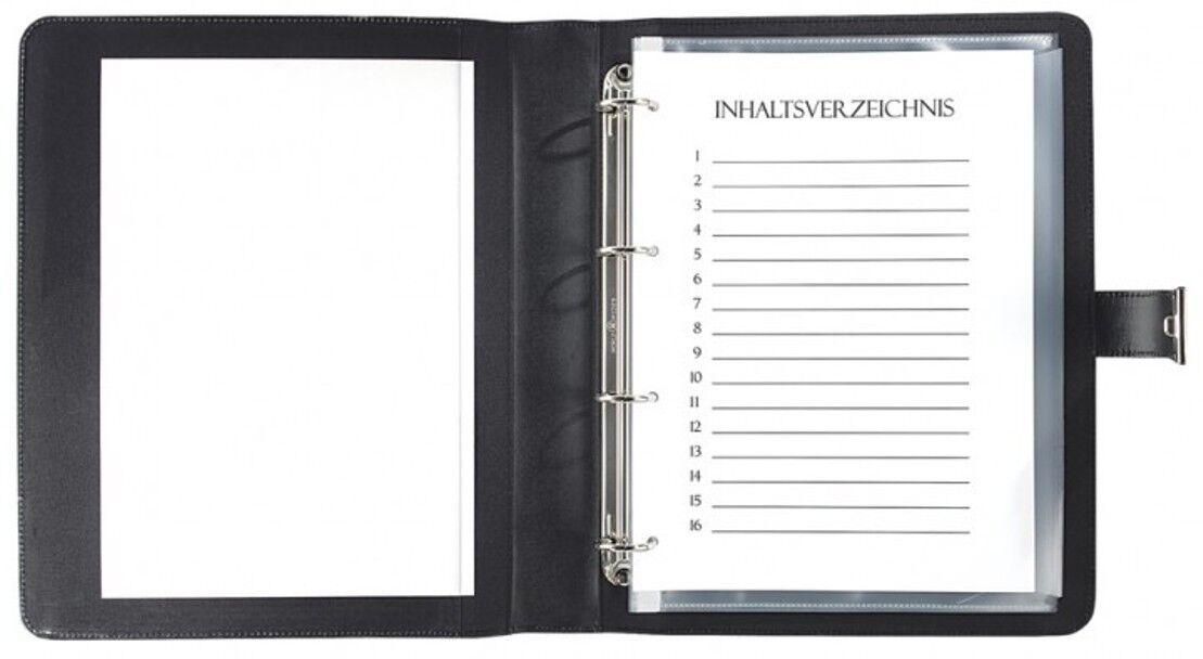 Dokumentenmappe A4 mit Schloss – Vollrindleder schwarz - excl. Marke EuroStyle   Vielfalt    Wirtschaft    Wunderbar