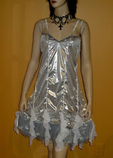 SILVER METALLIC FLAPPER DRESS Role Play C/D 20s Pin Up Girl 3x 22 PLUS SIZE 3XL