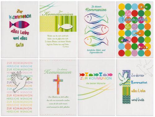 Grußkarten zur Kommunion Fisch Wünsche Klappkarten mit Umschlägen 120-4299
