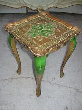 ANCIENNE PETITE TABLE BASSE DE STYLE FLORENTIN EN BOIS DORÉ ET PEINT
