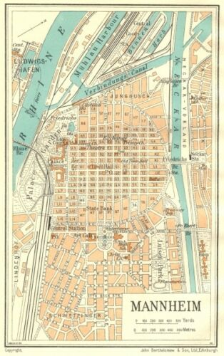 GERMANY Mannheim 1931 old vintage map plan chart