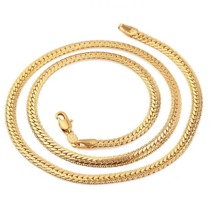Ladies-18K-Yellow-Gold-GP-18-034-Inch-Filigree-Snake-Chain-Link-4mm-Necklace-N92