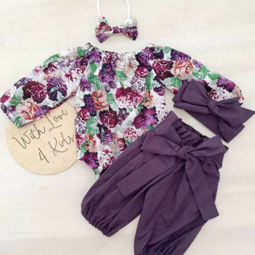 3pcs Newborn Baby Girls Floral Clothes Jumpsuit Romper Bodysuit Pants Outfit Set
