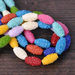 25pcs-Mixed-16x9mm-Barrel-Shape-Flower-Carved-Imitation-Coral-Resin-Beads-lot