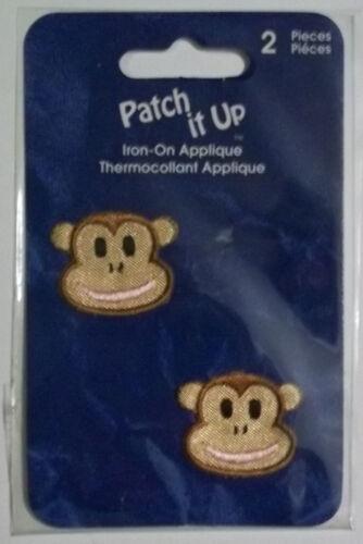 Iron-on Applique Kids 2 Monkey Faces  Free Shipping  Horizon  NIP