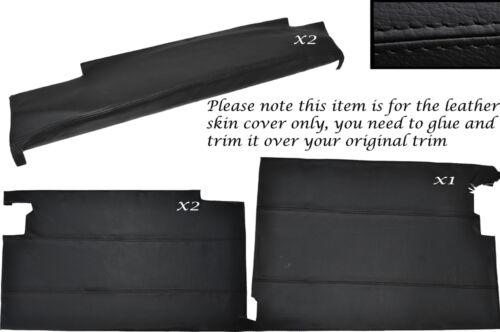 Black stitch kit de porte inférieur carte peau cuir couvre fits Landrover Série 2a 3