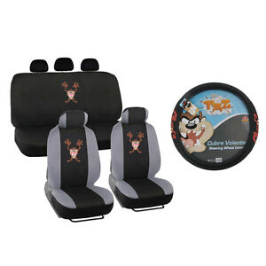 New Tasmanian Devil Taz Front & Back Car Seat Covers Steering Wheel
