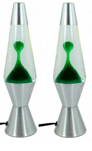 Two Green LAVA LAMPS - ORIGINAL CLASSIC DESIGN SILVER BASE - MODERN MOOD LIGHT