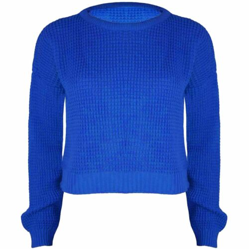 Ladies Cropped Sweater Womens Oversized Baggy Long Sleeve Top Jumper UK 8-14