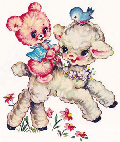 XL VinTaGe IMaGe RePrO BeaRs & LamBs ShaBby WaTerSLiDe DeCALs ~FurNiTuRe SiZe~
