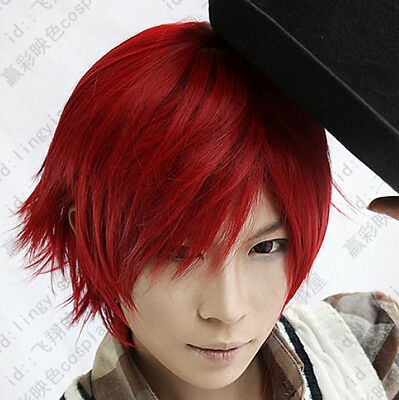 31 Vocaloid Short Red Akaito Party Cosplay Wig free shipping+wig cap