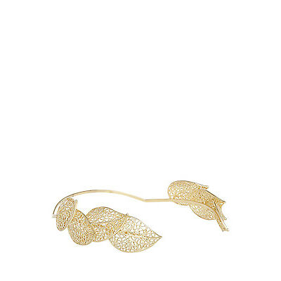 NEW Olga Berg Miah Filligree Leaf Metal Headband Gold
