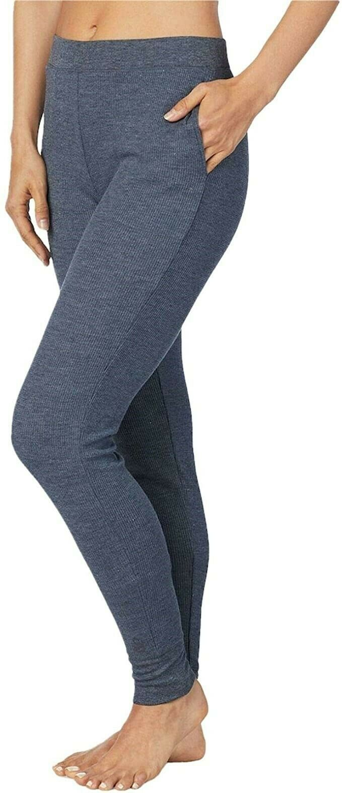 BluePlum CD2  Cuddl Duds Womens Flex Fit Long Leggings Moisture Wick Blue Plum Space Dye Small