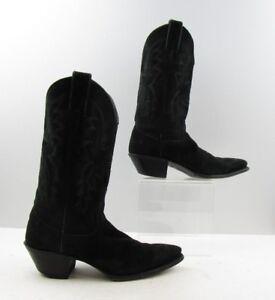 Ladies Justin Black Suede Leather
