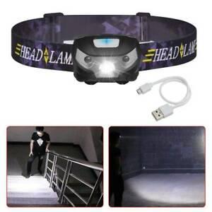 LED Sensor Stirnlampe Head Torch USB Wiederaufladbar mit 5 Lichtmodi Kopflampe