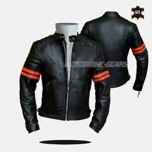 Cruiser-leather-jacket-black-leather-jacket-with-orange-lining-any-size-bargain
