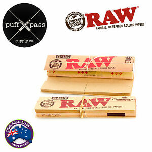 RAW CLASSIC CONNOISSEUR KING SIZE SLIM ROLLING PAPERS + TIPS - SMOKING TOBACCO