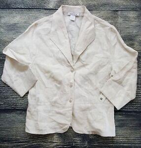 NWT David N. Women's Size Medium M Three-Button 100% Linen Blazer Jacket