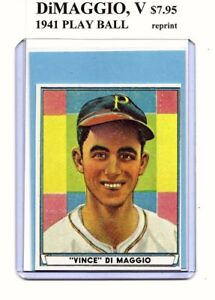 Details About Vince Dimaggio Pittsburgh Pirates 1941 Play Ball Rookie Card 61 Reprint