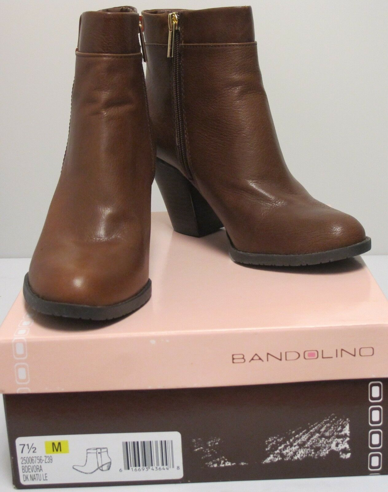 BANDOLINO Womens Dark Natural EVORA BOOTIES Size 7.5M (25006756-Z39)<wbr/>#