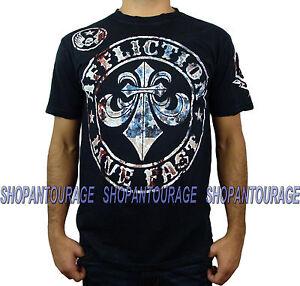 AFFLICTION Divio Americana A11622 New Men`s Black T-shirt