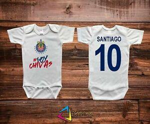 Chivas Gal\u00e1cticas de Guadalajara Mameluco de Bebe Baby Body Suit Personalizado con Nombre y N\u00famero Baby Soccer Jersey Liga Mx