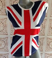 Uk Flag Womens Top Size 40 Fits M/l Us Muscle Shirt England Cute