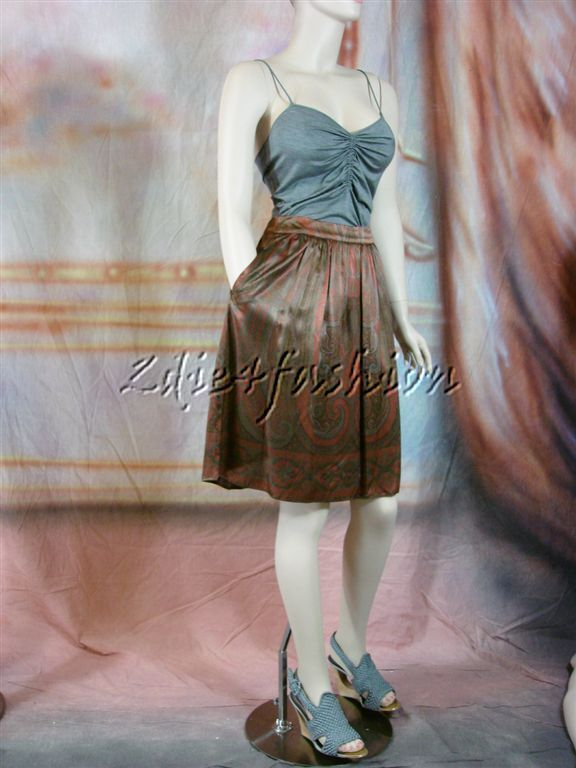 1095 New ETRO Stylish Brown Copper Paisley Print Pleat Gathered Skirt 10 44