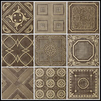Brown Beige Styrofoam 20x20 Tin Look Ceiling Tiles Different Patterns