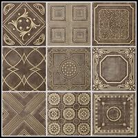 Brown Beige Styrofoam 20x20 Tin Look Ceiling Tiles Different Patterns