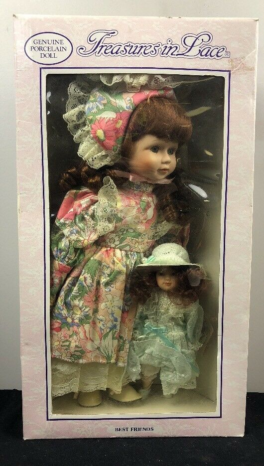Vintage Treasures in Lace Porcelain Dolls - 20 in w/ Smaller Doll IN BOX