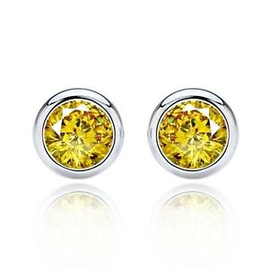 2 ct. Citrine Bezel Stud Earrings in Solid Sterling Silver - November Birthstone