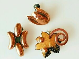Mid Century Enamel and  Copper Brooch with matching Earrings