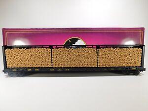Brand-New-MTH-O-CSX-Center-I-Beam-Flatcar-W-Log-Load-20-98211-TOTE93