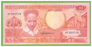 Suriname-10-Gulden-1988-P-131b-UNC-Real-Photo