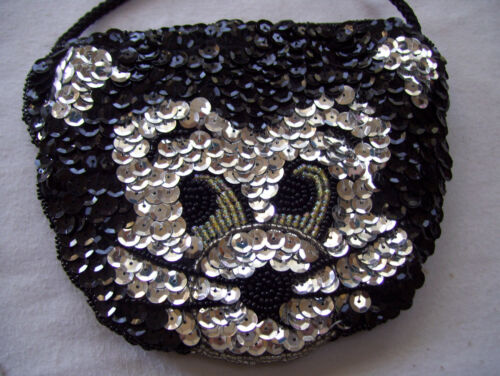 Teens /& Ladies Cat Black /& Silver Rhinestone Handbag Purse Shoulder Bag Tote New