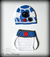 Baby R2D2 Sci-Fi Crochet Hat & Diaper Cover Crochet Star Wars Hat-Crochet Beanie