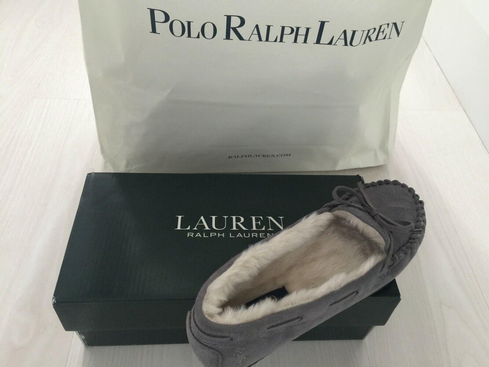 Ralph Lauren Damas gris Zapatillas De Lujo Mocasín Talla Nuevo En Caja