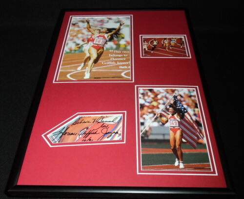 Florence Griffith Joyner Signed Framed 12x18 Photo Display Olympics