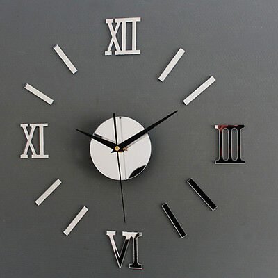 Chic Adhesive Silver Vintage Roman Numeral Number Frameless Clock 3D Home Decor