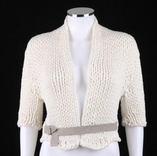 BRUNELLO CUCINELLI White Chunky Knit OpenFront Cro